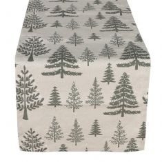 Grey Tree Cotton Table Runner