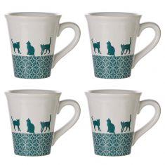Set of 4 Feline Friends Mugs
