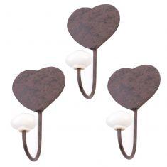 Set of 3 Heart Shaped Wall Hooks
