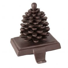 Cast Iron Pine Cone Christmas Stocking Holder