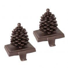 Set of 2 Pinecone Christmas Stocking Holders