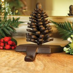 Cast Iron Pine Cone Christmas Stocking Holder