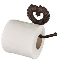 Isabelle Antique Brown Heart Toilet Roll Holder