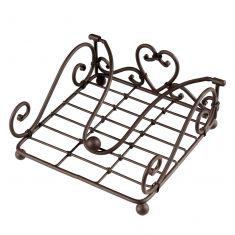 Antique Brown Love Heart Napkin Holder
