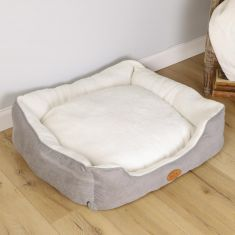 Large French Grey and Snow Cream Grey Plush Cosy Dog Bed
