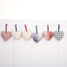 Set of 6 French Country Fabric Heart Decorations