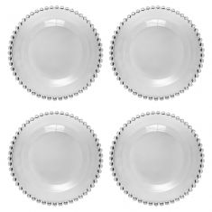 Set of 4 Bella Perle Beaded Edge Glass Side Plates