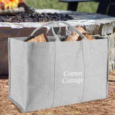 Personalised French Grey Jute Log Bag