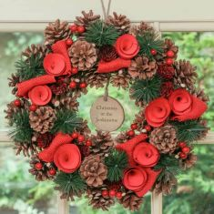 Personalised Red Rose Christmas Wreath 14