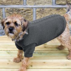 Medium Grey Chunky Knit Dog Jumper