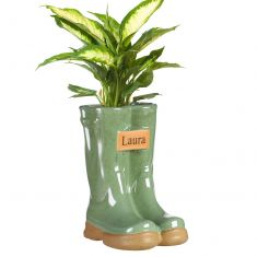 Personalised Large Green Wellington Planter