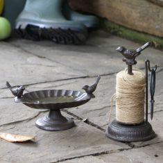 Cast Iron Bird Bath & String Dispenser