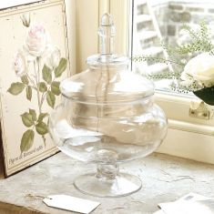 Large Footed Glass Jar with Lid