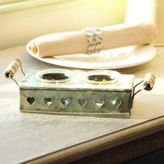 Vintage Zinc Twin Tea Light Candle Holder