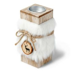 Faux Fur Wooden Reindeer Tealight Candle Holder