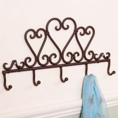 Wrought Iron Country Heart Hook Board