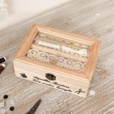 French Vintage Wooden Glass Lid Sewing Craft Box