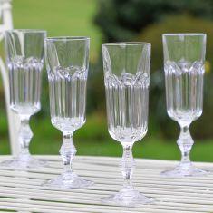 Set of 4 Art Deco Bevelled Champagne Flutes