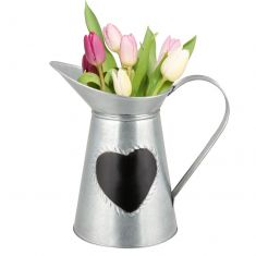 Silver Jug Vase with Chalkboard Heart