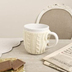 Cream Knitted Cardigan Mug