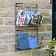 Wall Mounted Black Chicken Wire Magazine Rack