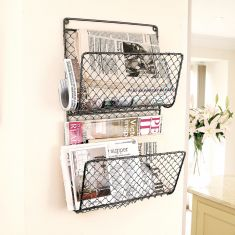 Wall Mounted Black Chicken Wire Magazine Rack