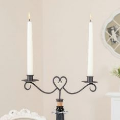 Fine Dining Heart Bottle Stopper with Twin Candle Holders