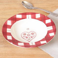 French Chalet Tartan Heart Bowl
