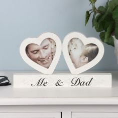 Wooden Me & Dad Twin Heart Photo Frame