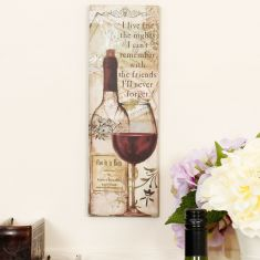Wine With Friends Vintage Wall Sign
