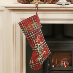 Personalised Red Tartan Christmas Stocking