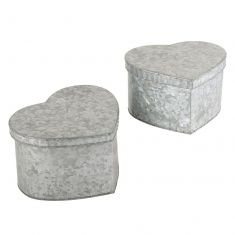 Set of 2 Zinc Heart Shaped Boxes