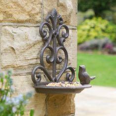 Ornate Cast Iron Wall Mounted Bird Feeder