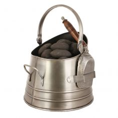 Antique Style Silver Coal Bucket and Shovel