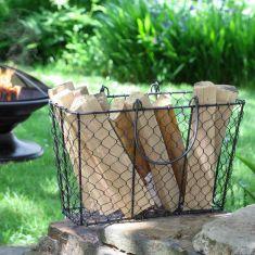 Black Chicken Wire Kindling Basket