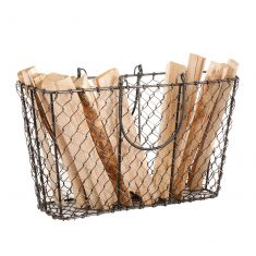 Black Chicken Wire Kindling Basket
