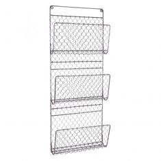 Black Chicken Wire Wall Mounted Magazine Rack