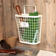 Country Cream Wall Mounted Garden Storage Basket