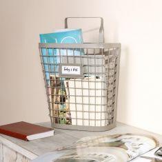 French Grey Wire Wall Storage Basket