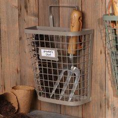 French Grey Wall Mounted Garden Storage Basket