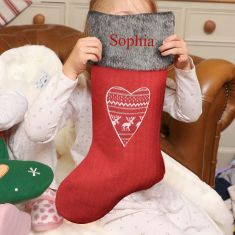 Nordic Heart Personalised Christmas Stocking