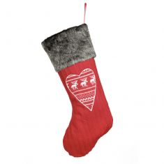 Red Nordic Heart Christmas Stocking