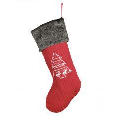 Red Nordic Tree Christmas Stocking