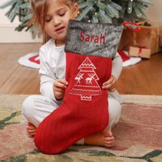 Personalised Red Nordic Tree Christmas Stocking