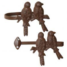 Set of 2 Cast Iron Perched Bird Curtain Tie Backs