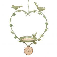 Personalised Sage Green Hanging Heart Bird Dish