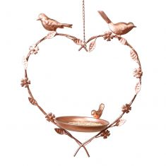 Copper Hanging Heart Bird Dish