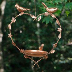 Copper Hanging Heart Bird Dish