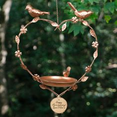 Personalised Copper Hanging Heart Bird Dish