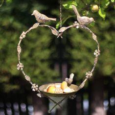 Brass Hanging Heart Bird Dish